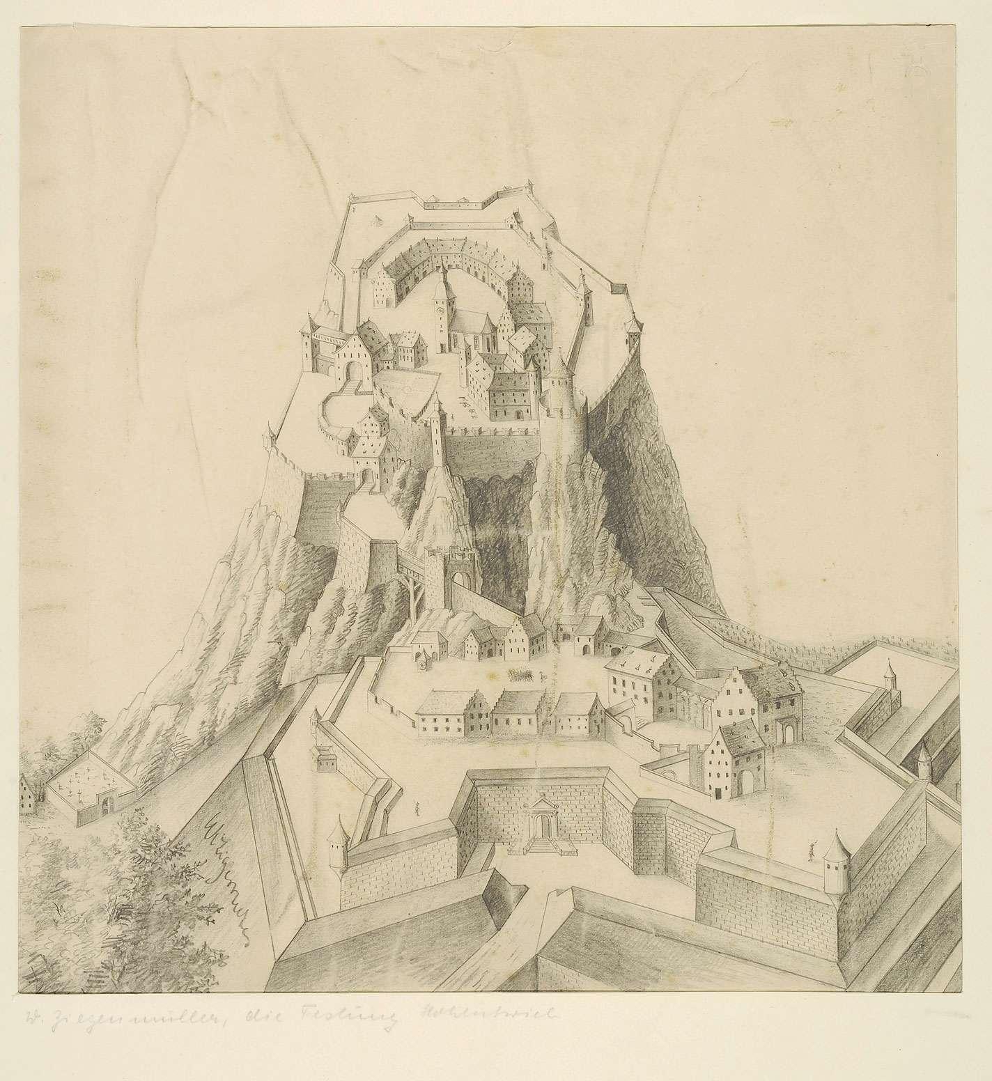 Festung Hohentwiel aus der Vogelperspektive und als Aufriss, Rekonstruktionsversuch, Bild 1