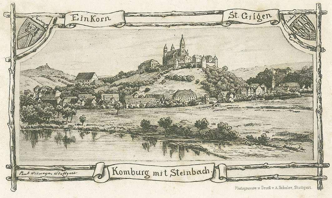 Komburg mit Steinbach als Standort des Ehreninvalidenkorps, auf Anhöhe befestigte Klosteranlage, darunter gruppiert das Dorf Steinbach am Fluss Kocher, Bild 1