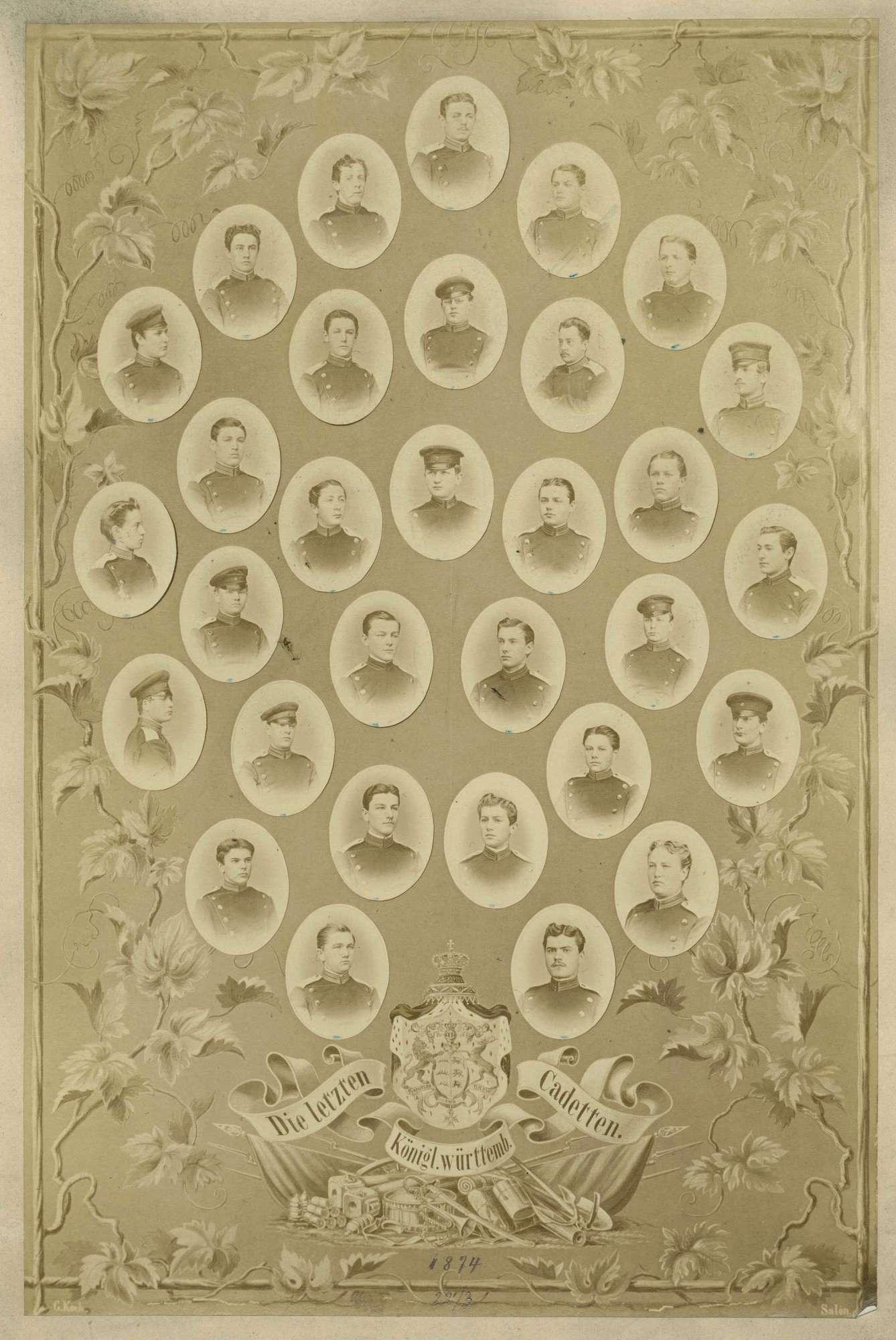 Letzter Jahrgang der Kadettenschule Ludwigsburg (bis 1870 Kriegsschule), Bild 1