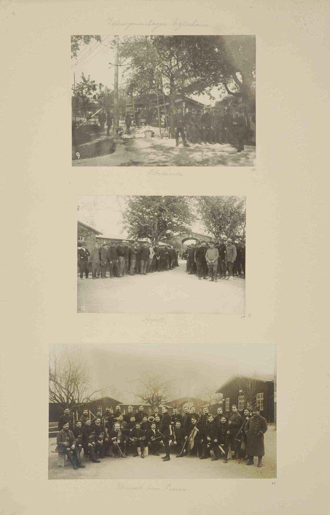 Kriegsgefangene bei Obsternte mit Leitern, Wachhabende, angetreten zum Appell und Konzert im Freien, Bild 1