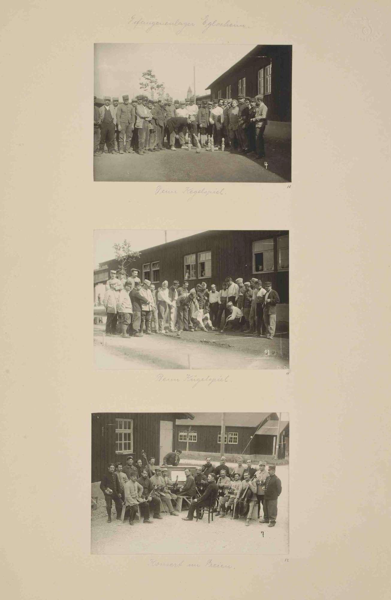 Kriegsgefangene des Kriegsgefangenenlagers Ludwigsburg-Eglosheim beim Kegelspiel, beim Kugelspiel (Boule) im Freien und bei Konzertübung im Freien, Bild 1