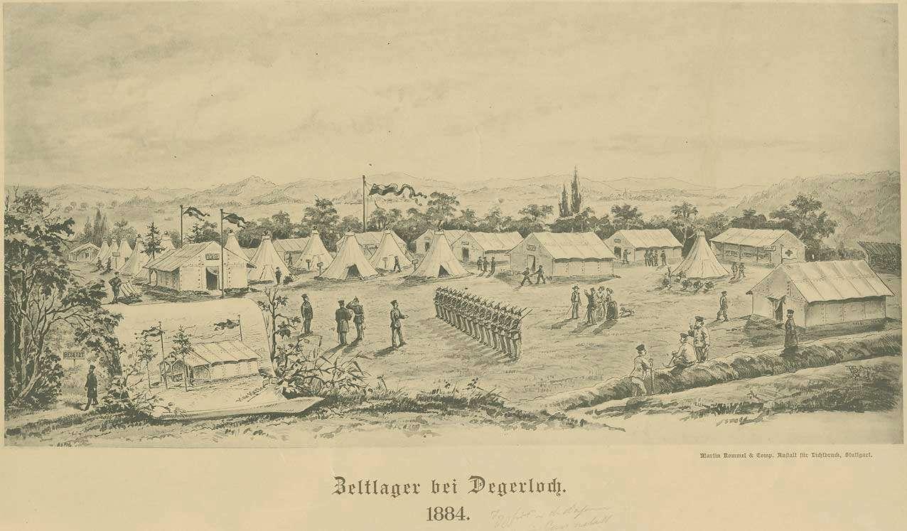 Militärlager bei Degerloch mit Grossraumzelten und exerzierenden Soldaten, 1884, bezogen während einer Typhusepidemie in der Kaserne Cannstatt, Bild 1