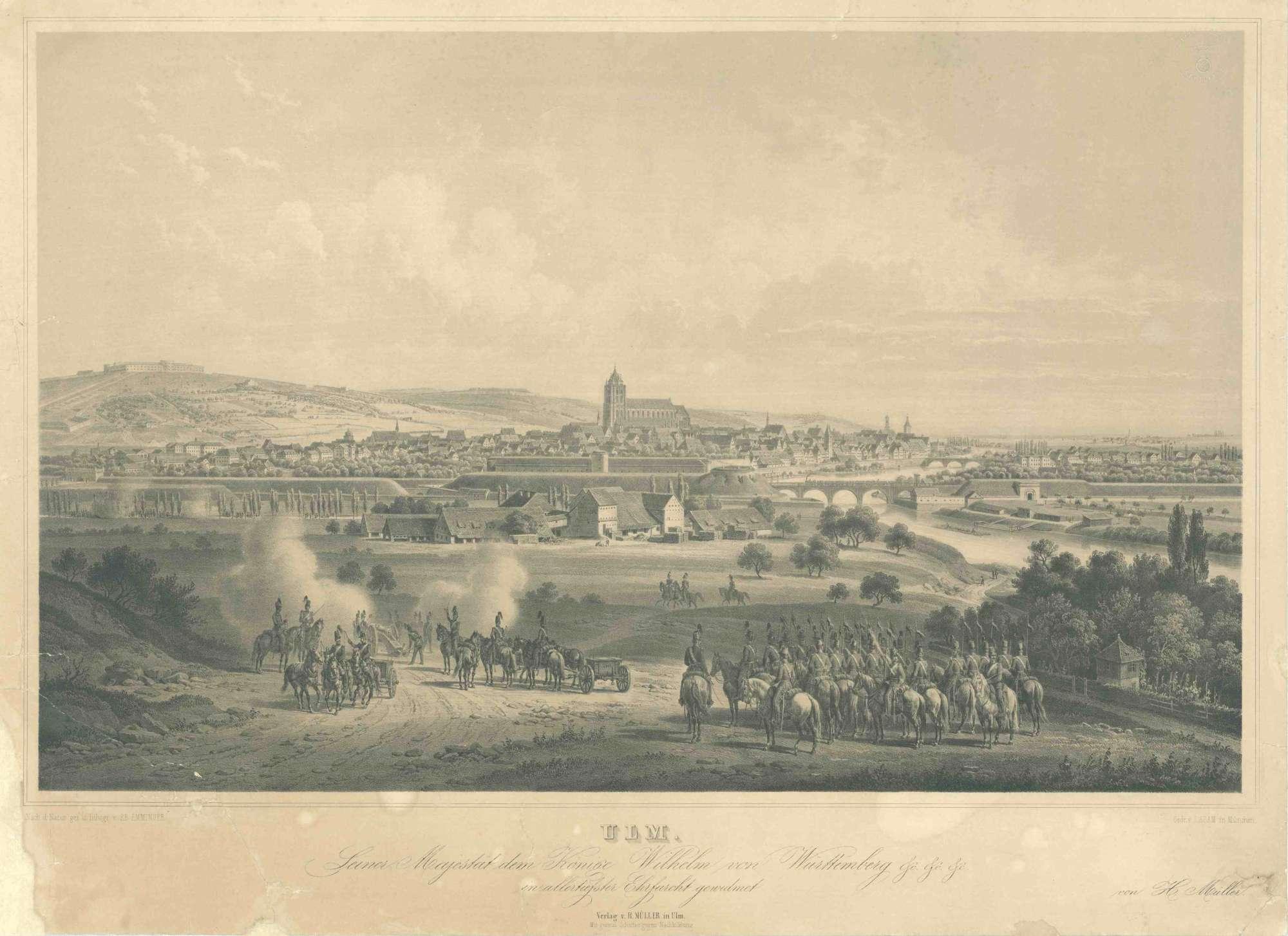 Ulm und Neu-Ulm, Ansicht von Südwesten, im Vordergrund exerzierende Reitende Artillerie, 1856, Truppen zu Pferd, Kanoniere beim Richtschiessen, Bild 1