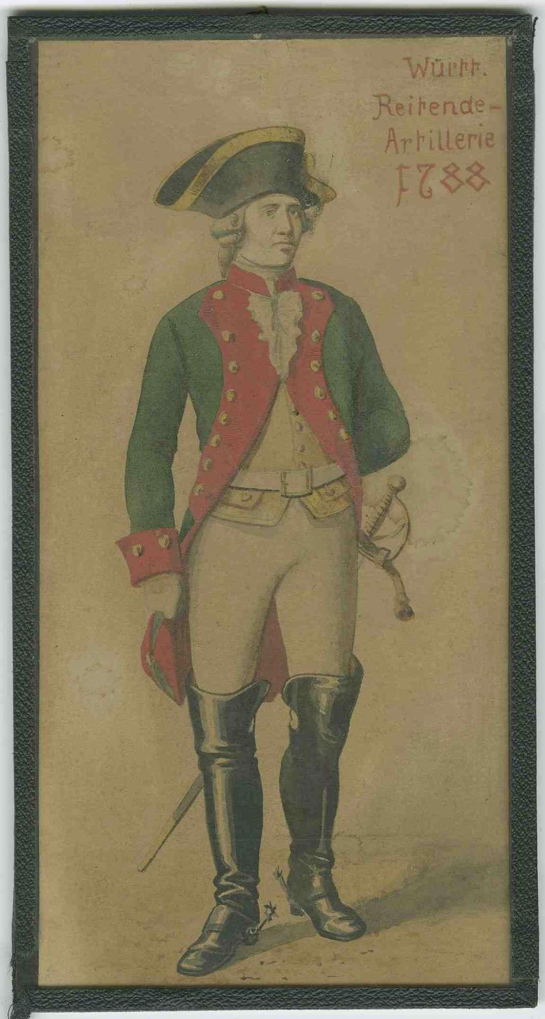 Offizier der Garde Legion der Württ. Reitenden Artillerie 1788 in Uniform mit Mütze [Quelle: Hauptstaatsarchiv Stuttgart]