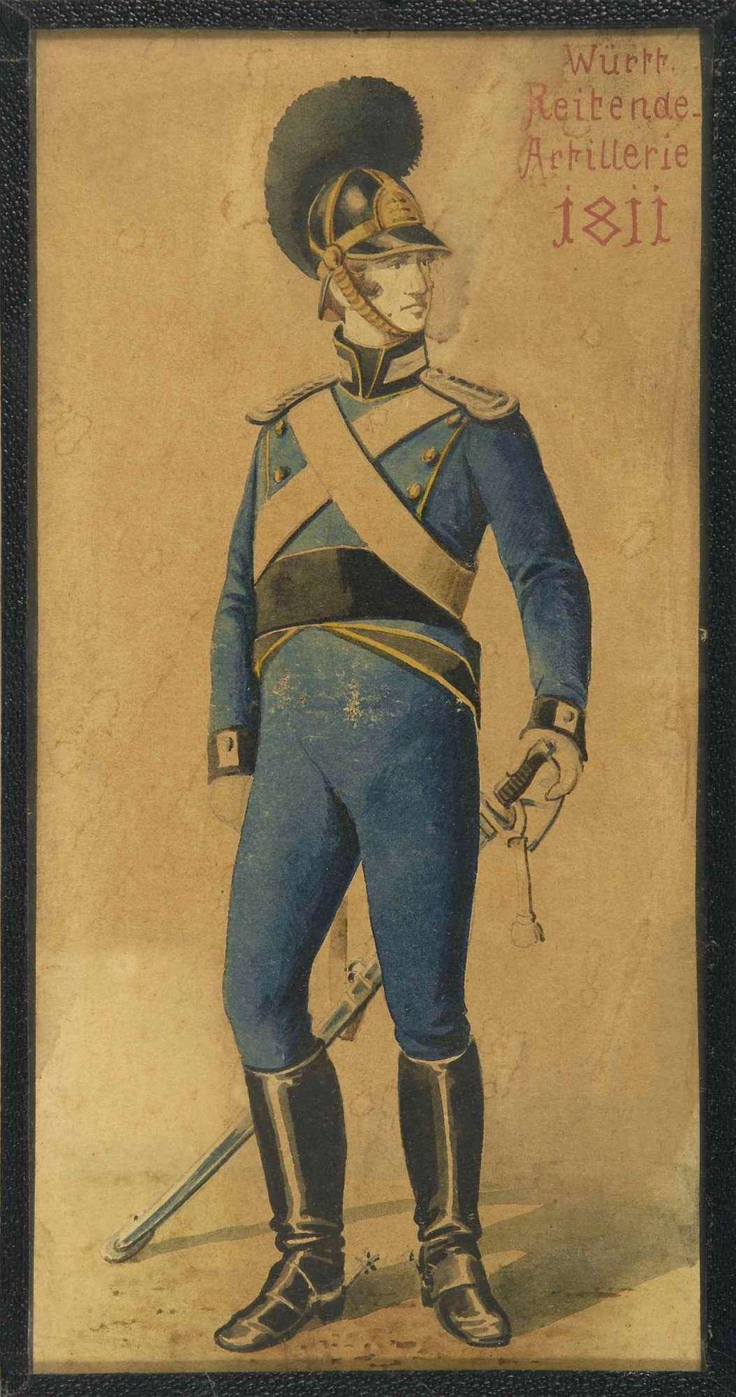 Offizier der Württ. Reitenden Artillerie 1811 in Uniform mit Zierhelm, Bild 1