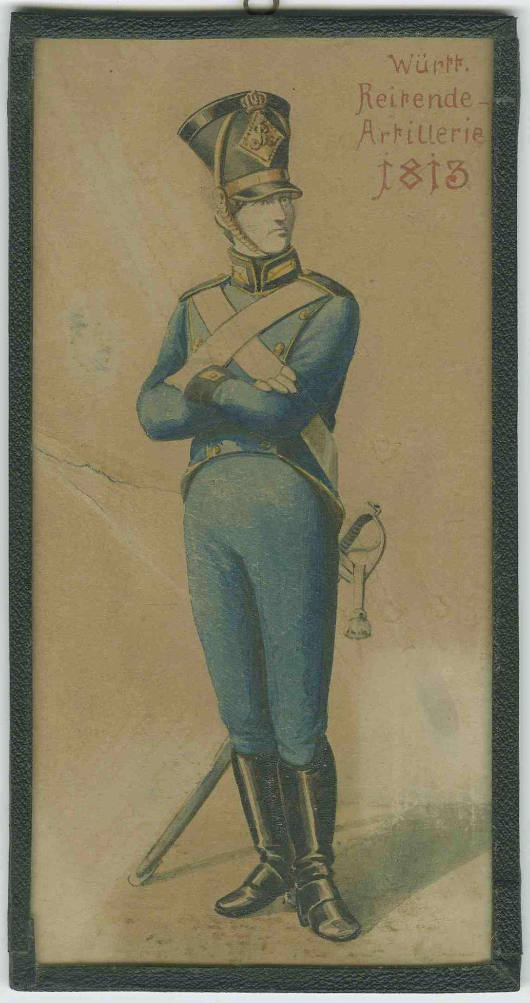 Soldat der Württ. Reitenden Artillerie 1813 in Uniform mit Mütze, Bild 1 [Quelle: Hauptstaatsarchiv Stuttgart] Soldat der Württ. Reitenden Artillerie 1813 in Uniform mit Mütze