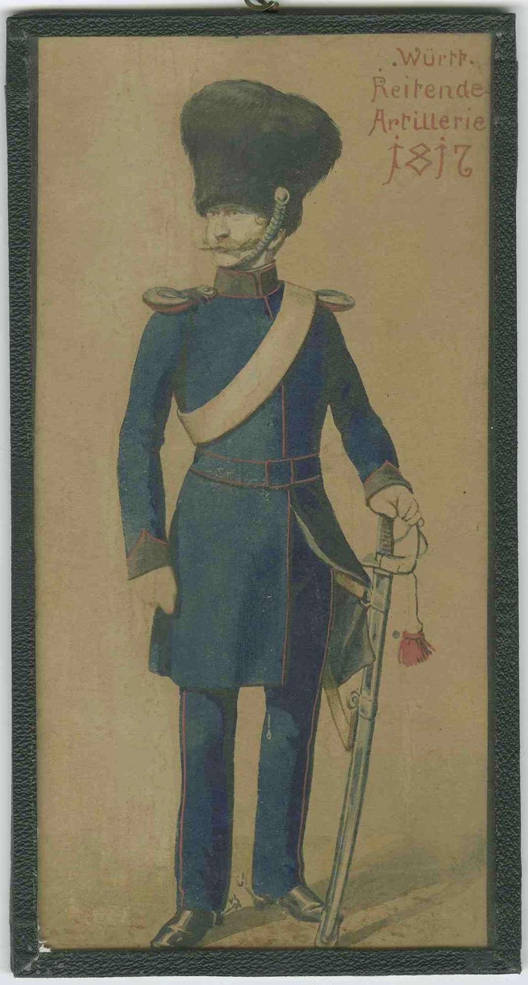 Soldat der Württ. Reitenden Artillerie 1817 in Uniform mit Mütze [Quelle: Hauptstaatsarchiv Stuttgart]