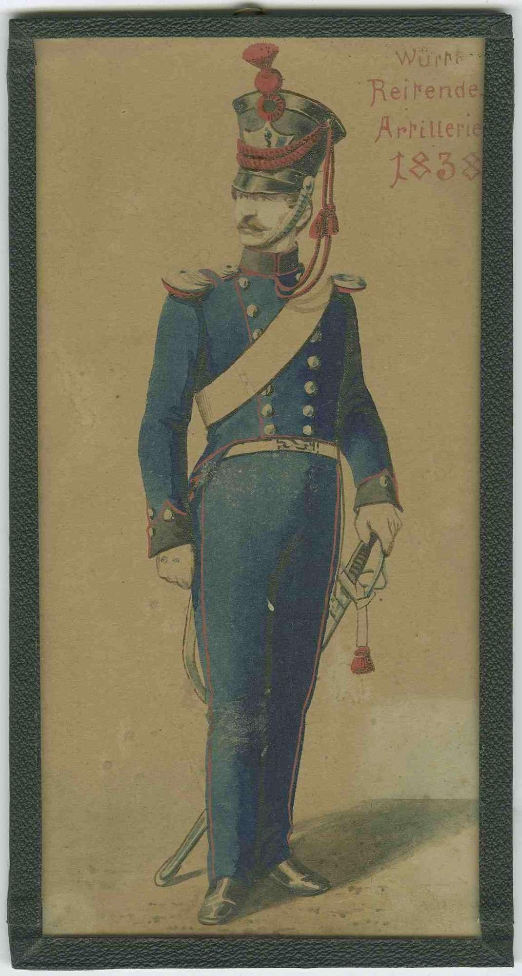 Soldat der Württ. Reitenden Artillerie 1838 in Uniform mit Mütze, Bild 1