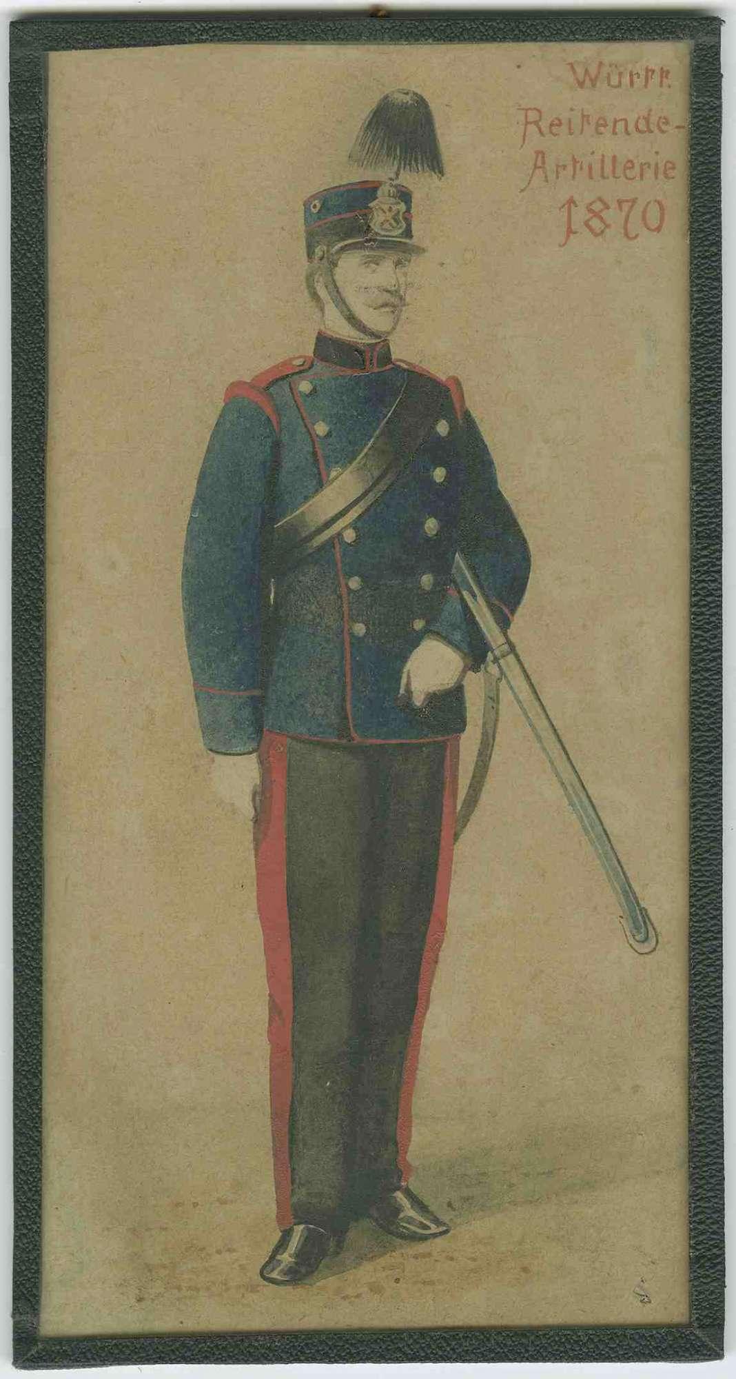 Soldat der Württ. Reitenden Artillerie 1870 in Uniform mit Mütze, Bild 1