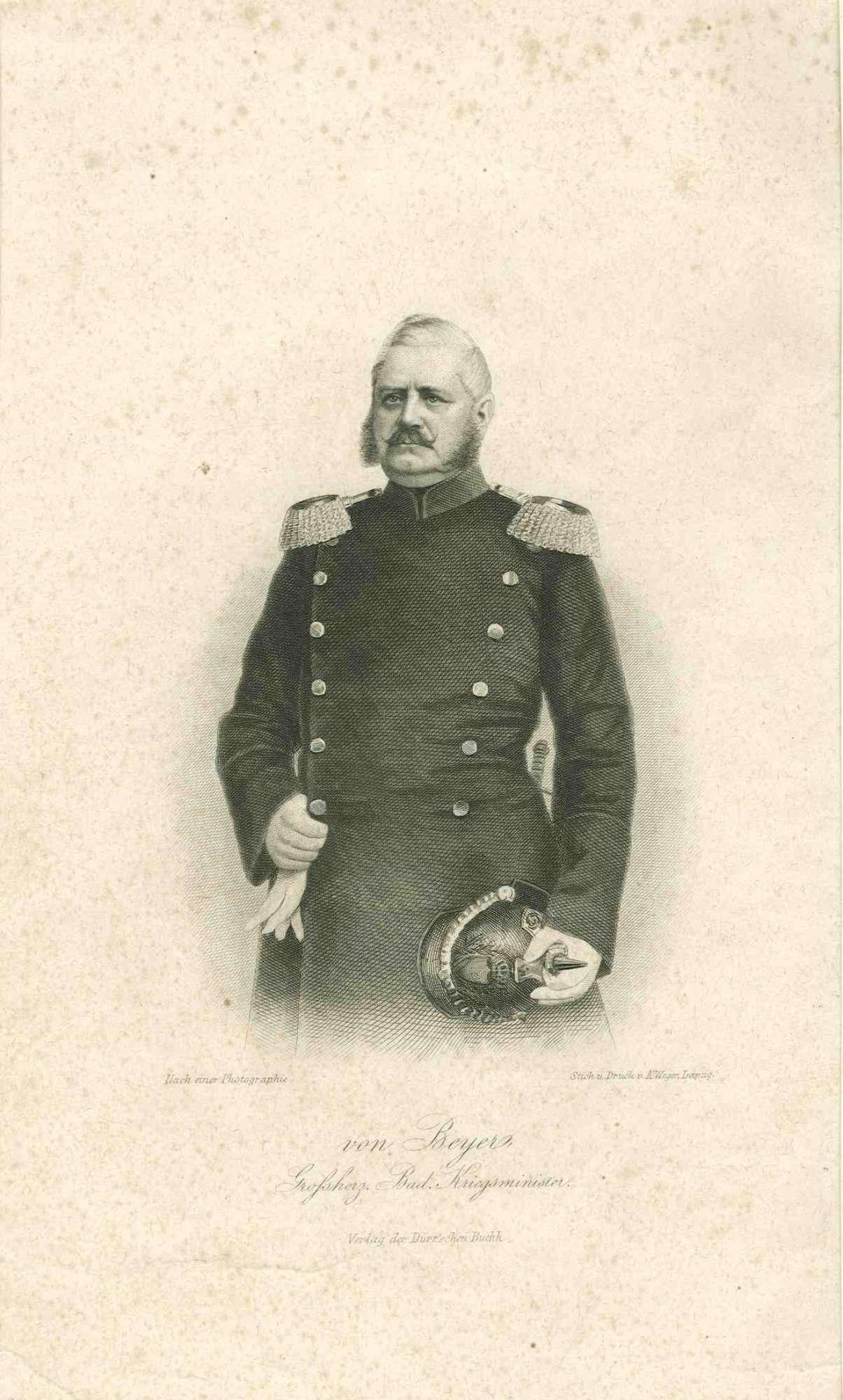 Gustav Friedrich von Beyer, preussischer General, Grossherzoglicher Badischer Kriegsminister, stehend in Uniform mit Pickelhaube, Brustbild in Halbprofil, Bild 1
