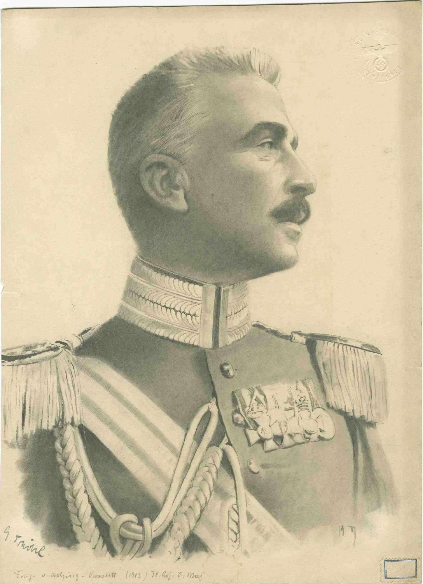 Freiherr Max von Holzing-Berstett, Generalmajor in Uniform, Schärpe und Orden, Brustbild in Pofil, Bild 1