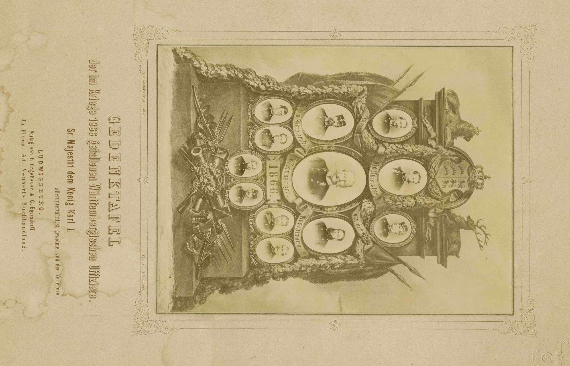 Gedenktafel der im österr.-süddeutschen Krieg gegen Preußen 1866 gefallenen württembergischen Offiziere, Brustbilder bzw. in Halbprofil, Bild 1