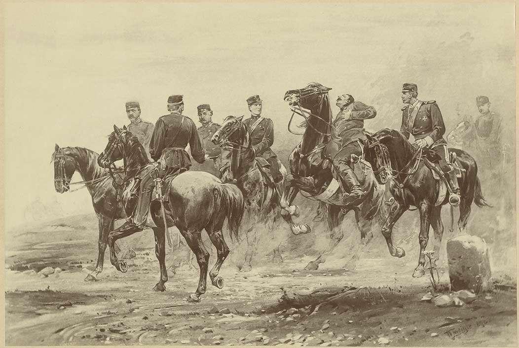 Stab der württ. Felddivision bei Tauberbischofsheim (Krieg gegen Preußen), 1866, sieben Offiziere zu Pferd, mittig Prinz Wilhelm, späterer König Wilhelm der II. von Württemberg (1848-1921), ein Offizier durch Schuß getroffen, Bild 1