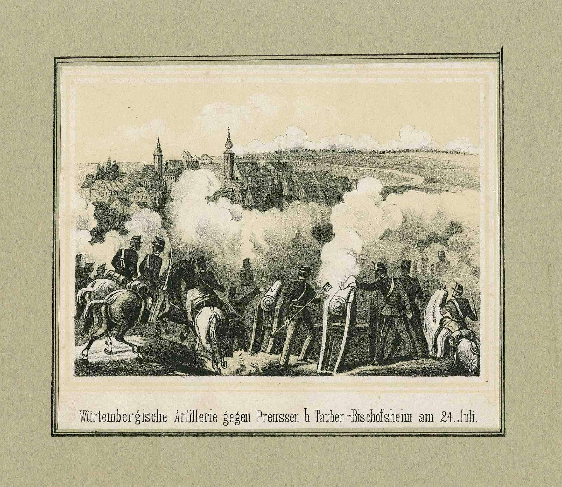 Feuernde württembergische Artillerie, Geschützbedienungen und Offiziere zu Pferd vor Tauberbischofsheim, im Hintergrund preuss. Stellungen, Bild 1