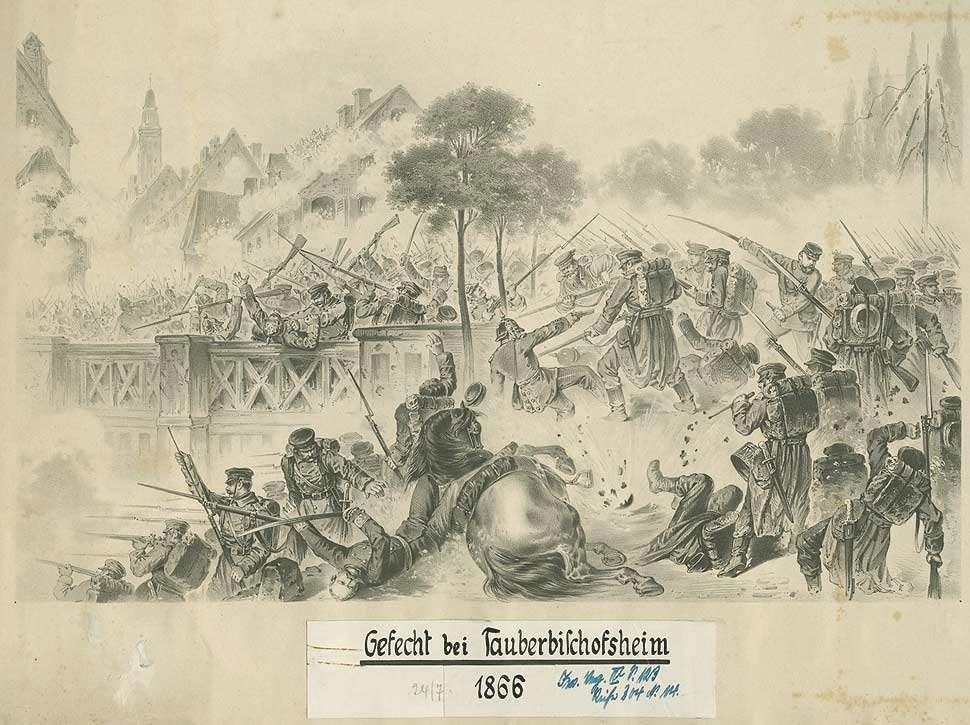 Gefecht bei Tauberbischofsheim, 1866, unter Artilleriebeschuss Kampf württ. Truppen gegen preussische Einheiten um die Tauberbrücke, Bild 1