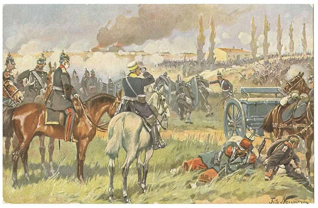 König Wilhelm I.von Preußen in der Schlacht bei Gravelotte am 18. August 1870, zu Pferd in Begleitung hoher Offiziere vor brennenden Häusern, Bild 1