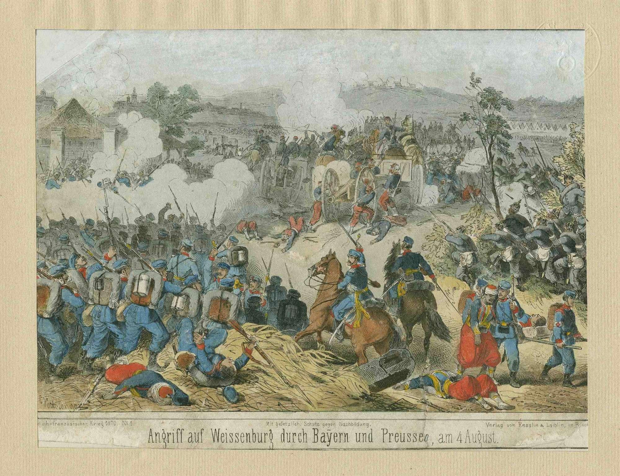 Angriff auf die Stadt Weissenburg durch bayerische und preussische Einheiten am 4. August 1870, Franzosen verlassen ihre umkämpfte Geschützstellung, Weissenburg ist, im Bild links, in Qualm gehüllt, Bild 1
