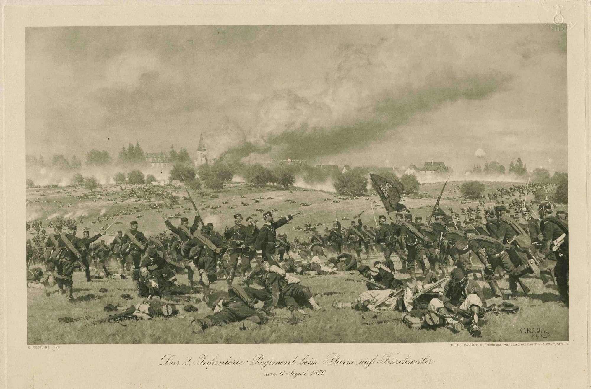 Sturmlauf württ. Truppen (2. Württ. Infanterie-Regiment) auf Fröschweiler, im Hintergrund brennende Stadtansicht, Bild 1