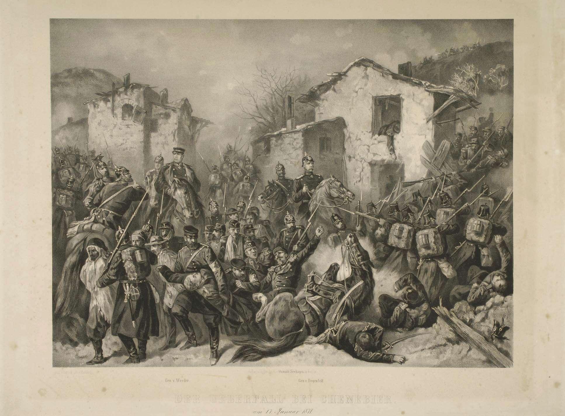 Preussische Truppen beim Überfall von Chenevier, Innerorts, am 17. Januar 1871, mittig Generäle von Werder und von Degenfeld sowie berittene Offiziere, ausschwärmende Truppen zu Fuss, im Vordergrund Gefallene, Verwundete und Kriegsgefangene, Bild 1