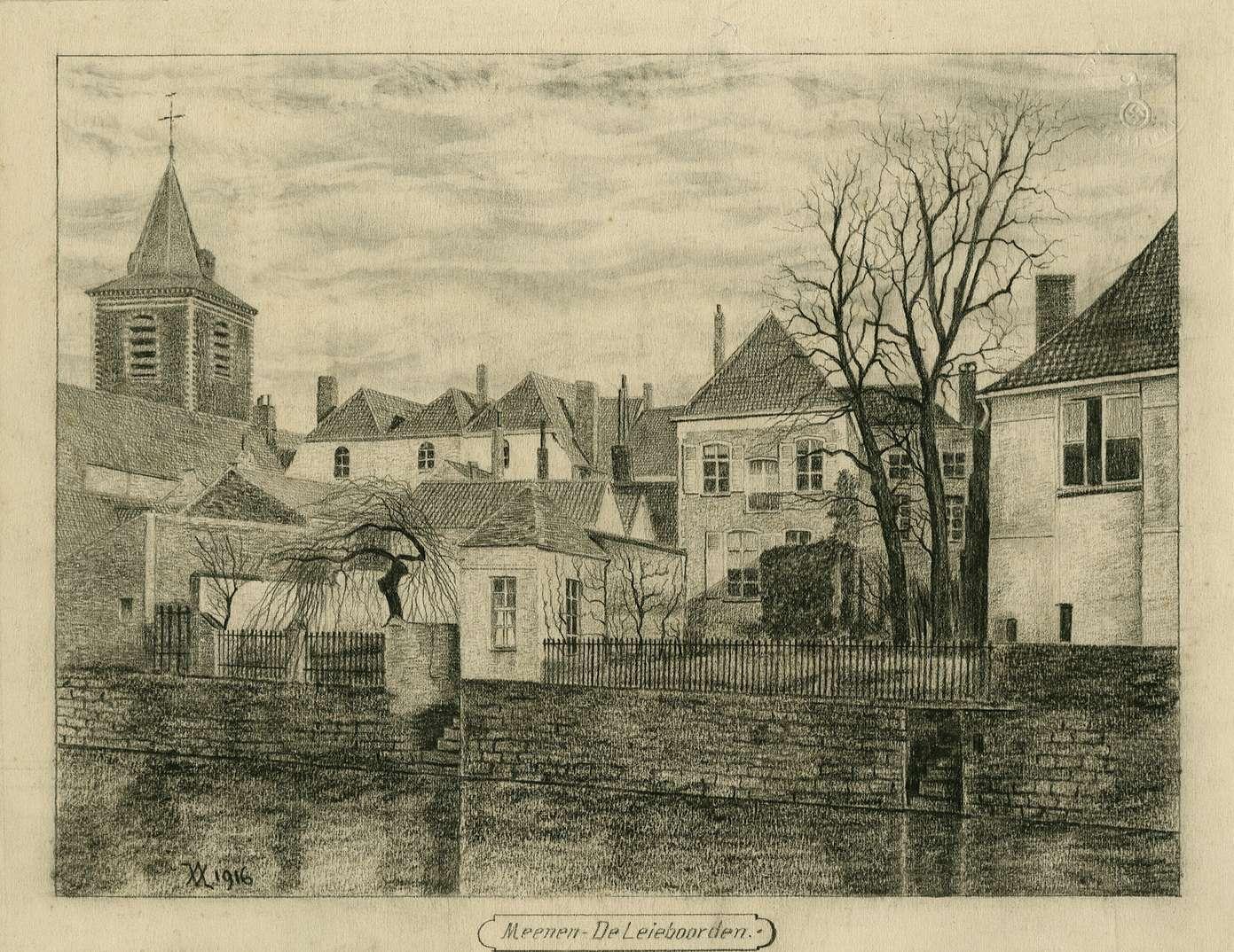 Rückansicht von der Leie aus Ort Meenen: Häuserzeile und Dorfkirche, Bild 1