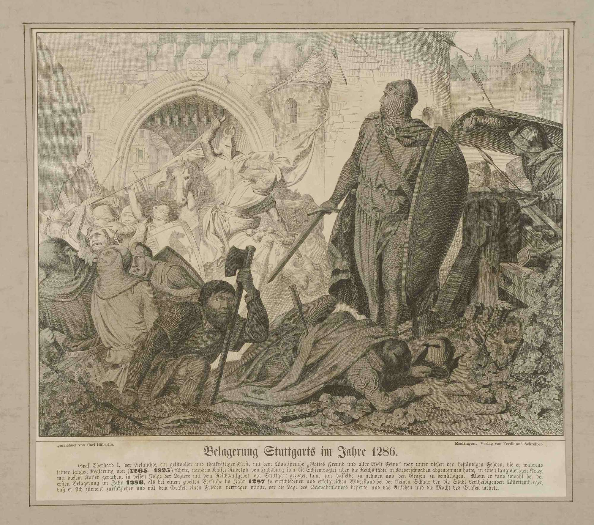 Schlachtszene während der vergeblichen Belagerung Stuttgarts durch kaiserliche Truppen 1286, vor dem Stadttor Graf Eberhard I. von Württemberg (der Erlauchte), Bild 1
