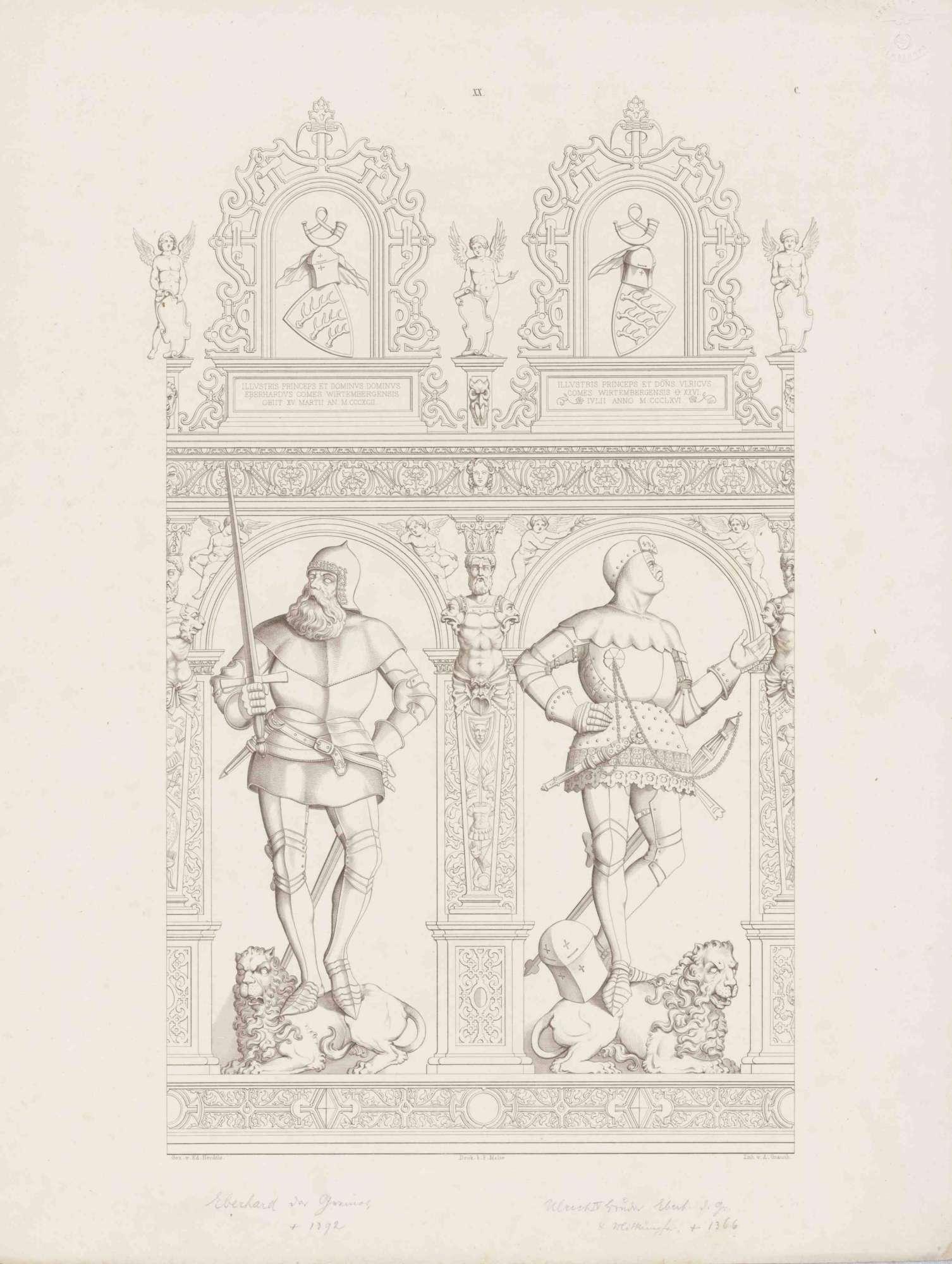 Graf Eberhard (der Greiner), Graf Ulrich IV., in Renaissancerahmen mit Wappen und Inschrift darüber, beide in Rüstungen auf Löwen stehend, Bild 1