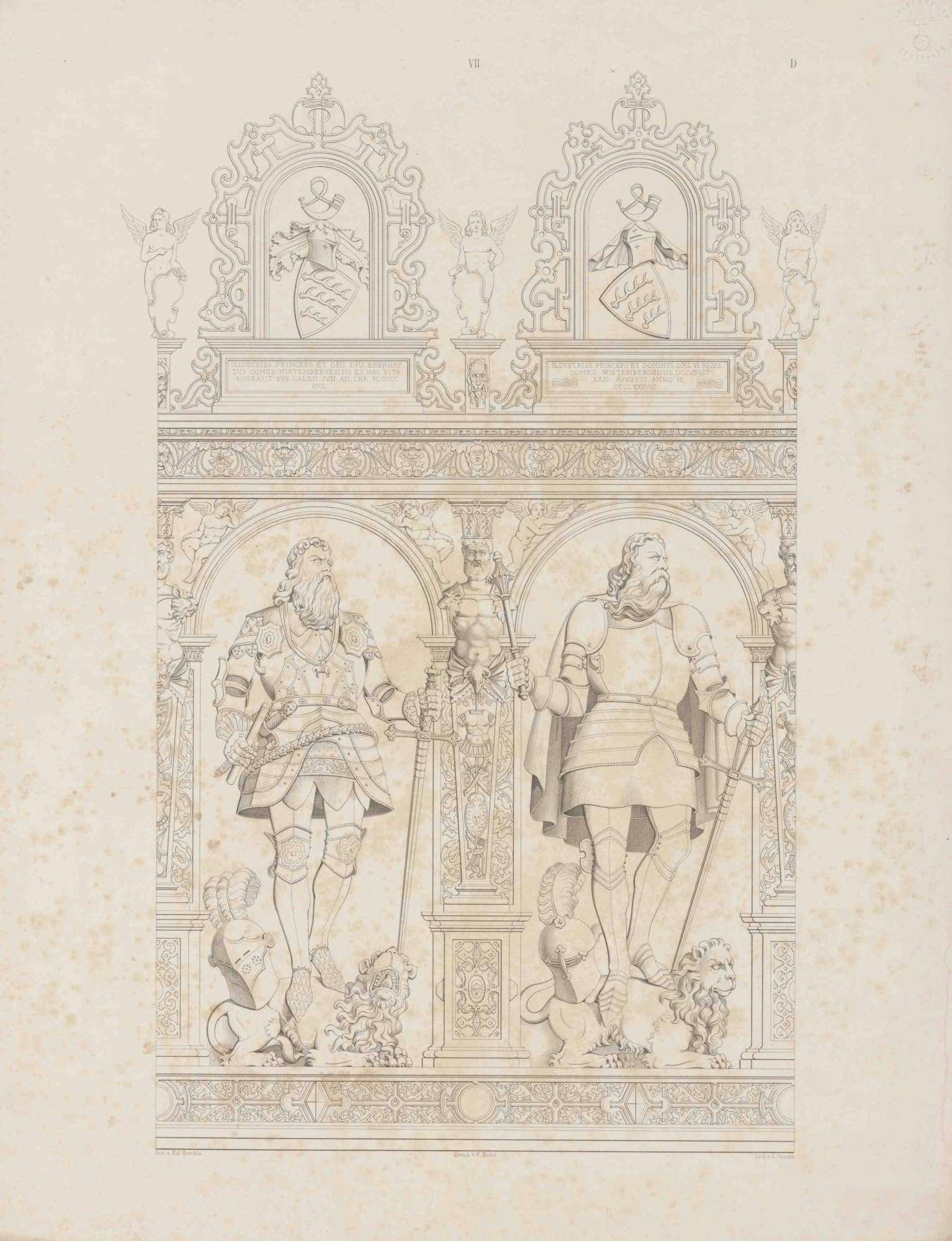 Graf Eberhard III. (der Milde), Graf Ulrich, in Renaissancerahmen mit Wappen und Inschrift, beide in Rüstung auf Löwen stehend, Bild 1