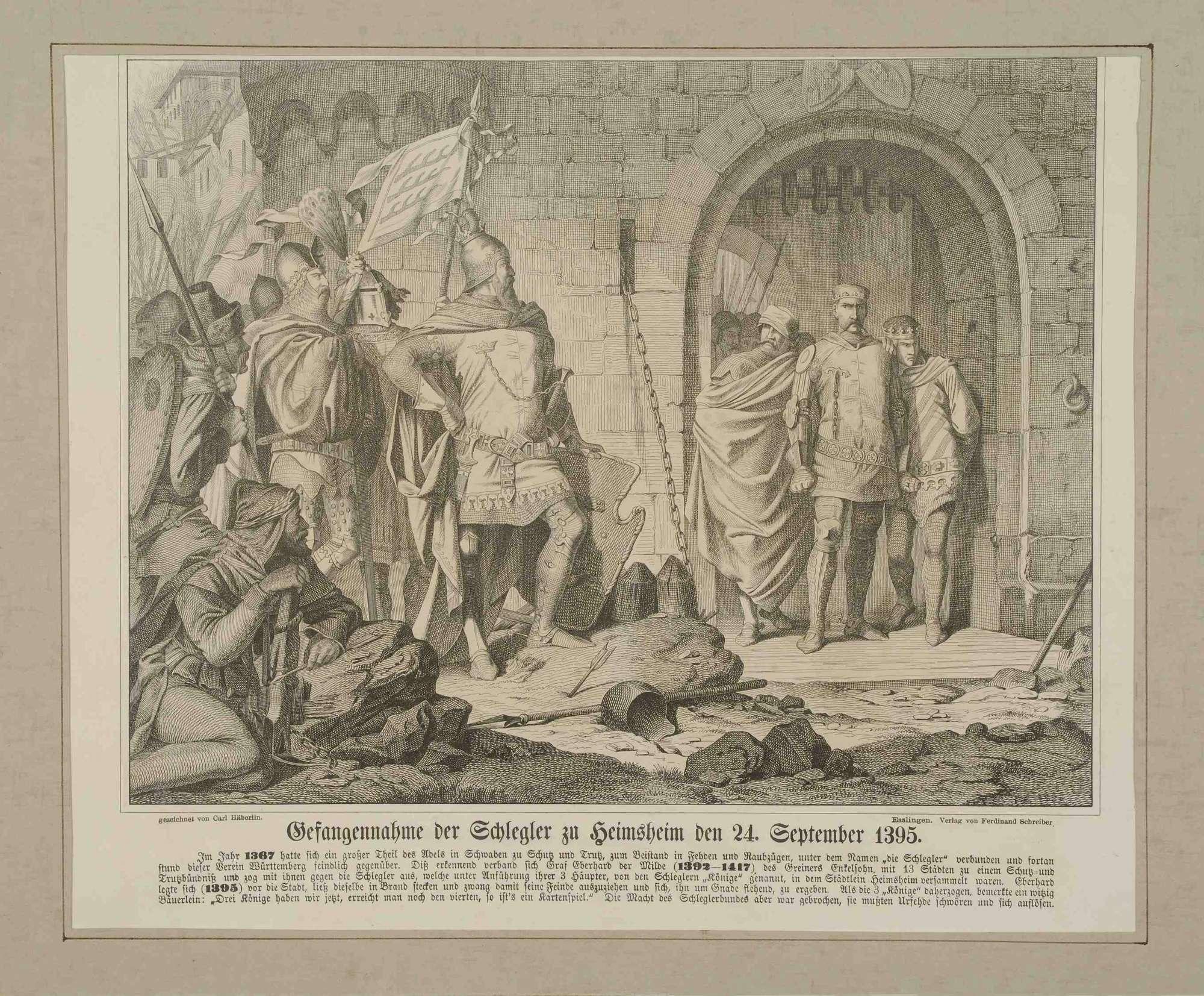Graf Eberhard von Württemberg (der Milde), stehend in Rüstung vor Stadttor Heimsheim, 1395, bei Gefangennahme der Schlegler (ein Württemberg feindlicher Trutzbund), Bild 1