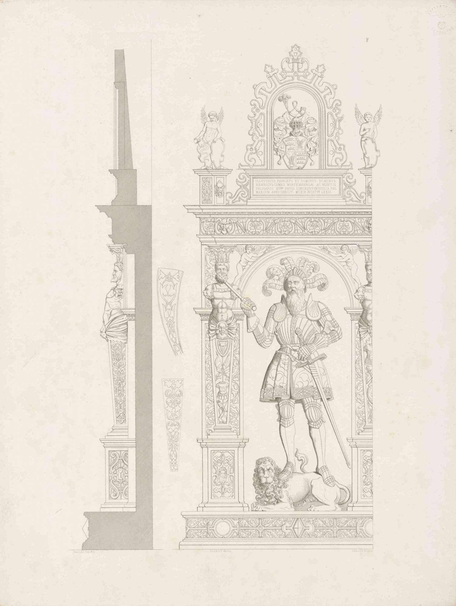 Graf Heinrich, in Renaissancerahmen mit Wappen und Inschrift darüber, auf Löwen stehend, Bild 1