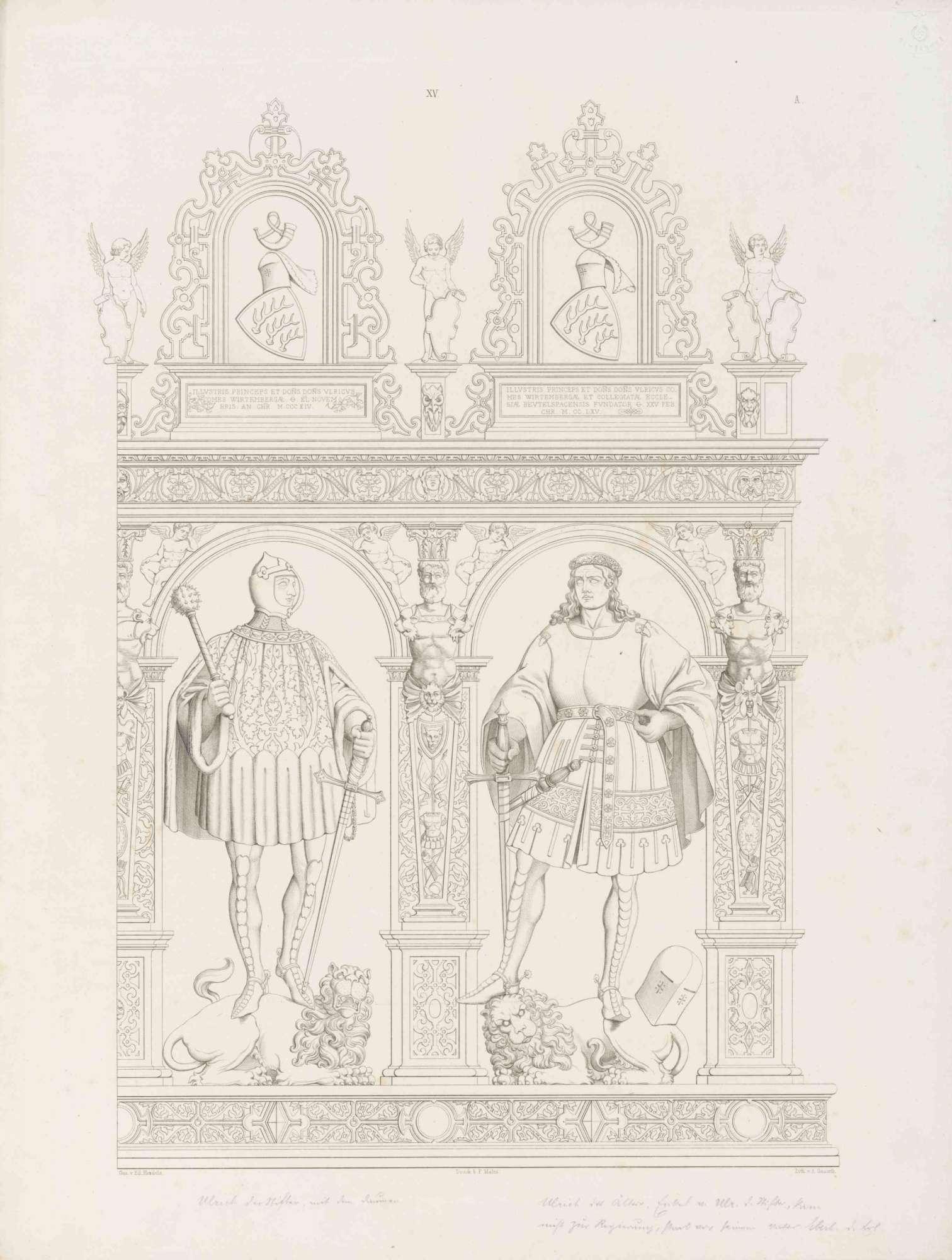 Graf Ulrich I. (der Stifter gest. 1265) und Graf Ulrich (1342 - 1388, gefallen), in Renaissancerahmen mit Wappen und Inschrift darüber, beide auf Löwen stehend, Bild 1