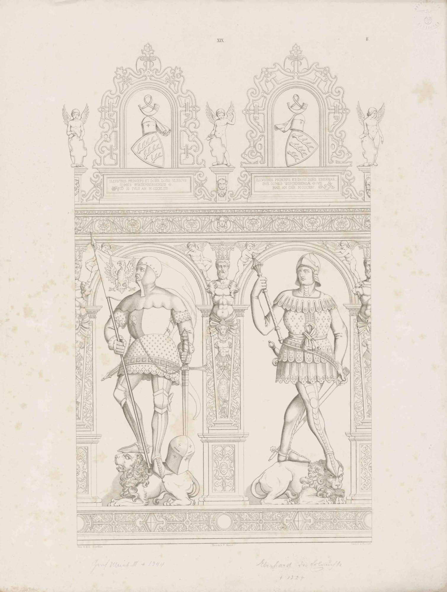 Graf Ulrich III. von Württemberg in Rüstung mit Reichssturmfahne, Graf Eberhard (der Erlauchte) (1265-1325), in Renaissancerahmen mit Wappen und Inschrift, beide auf Löwen stehend, Bild 1