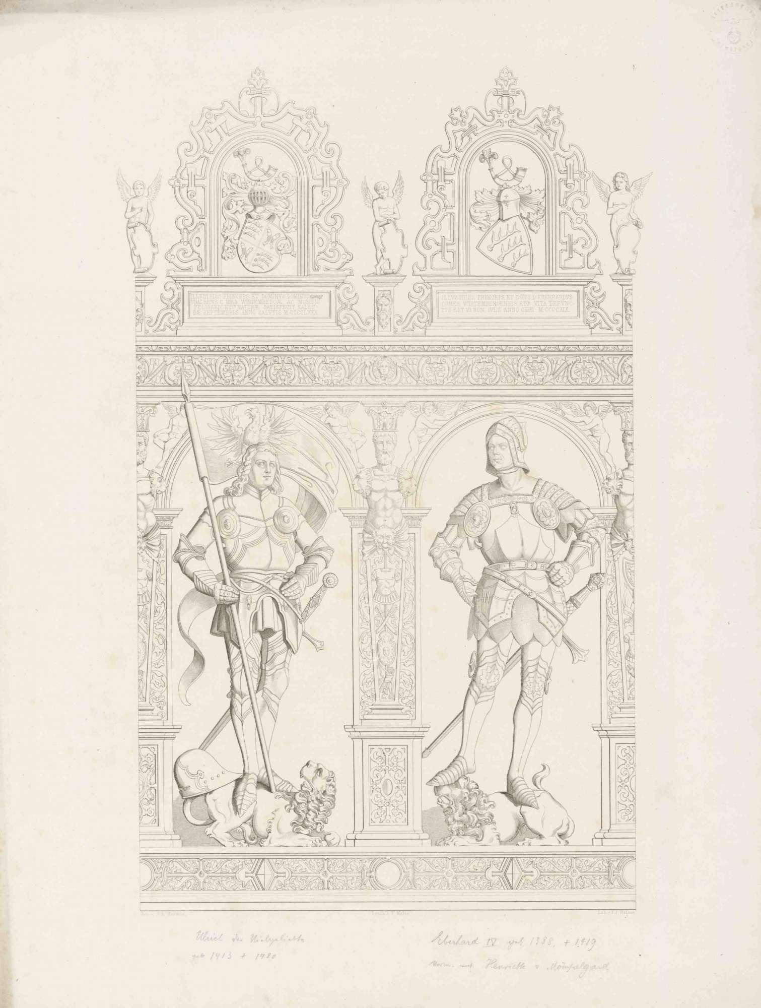 Graf Ulrich (der Vielgeliebte), Graf Eberhard IV (der Jüngere), in Renaissancerahmen mit Wappen und Inschrift darüber, Graf Ulrich mit Reichssturmfahne, beide in Rüstung auf Löwen stehend, Bild 1