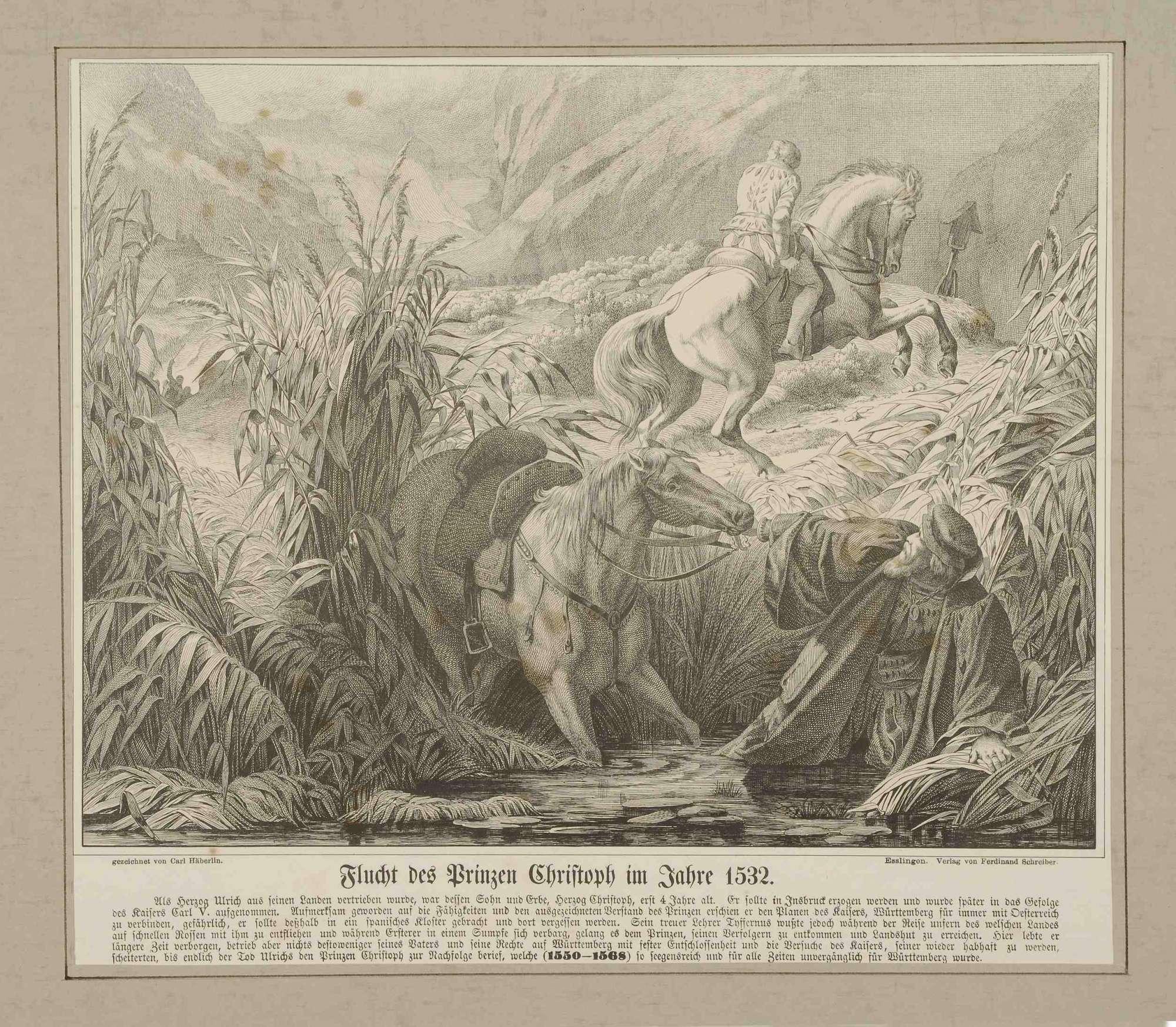 Prinz Christoph von Württemberg entzieht sich der Gefangennahme durch Kaiser Karl V. 1532 durch Flucht zusammen mit Lehrer Tyffernus, beide zu Pferd, in württembergischen Sümpfen, Bild 1