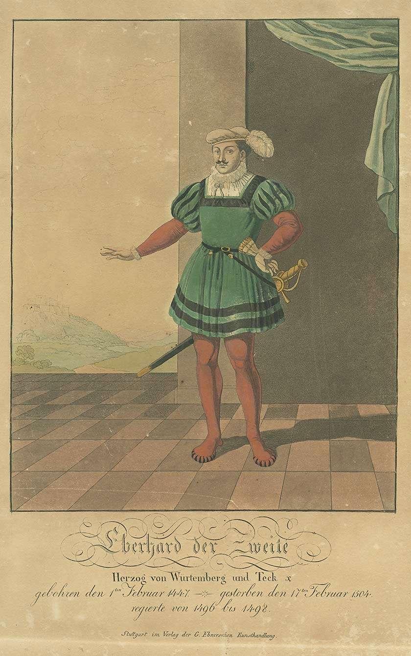 Herzog Eberhard II. von Württemberg, stehend in Halbprofil, Bild 1