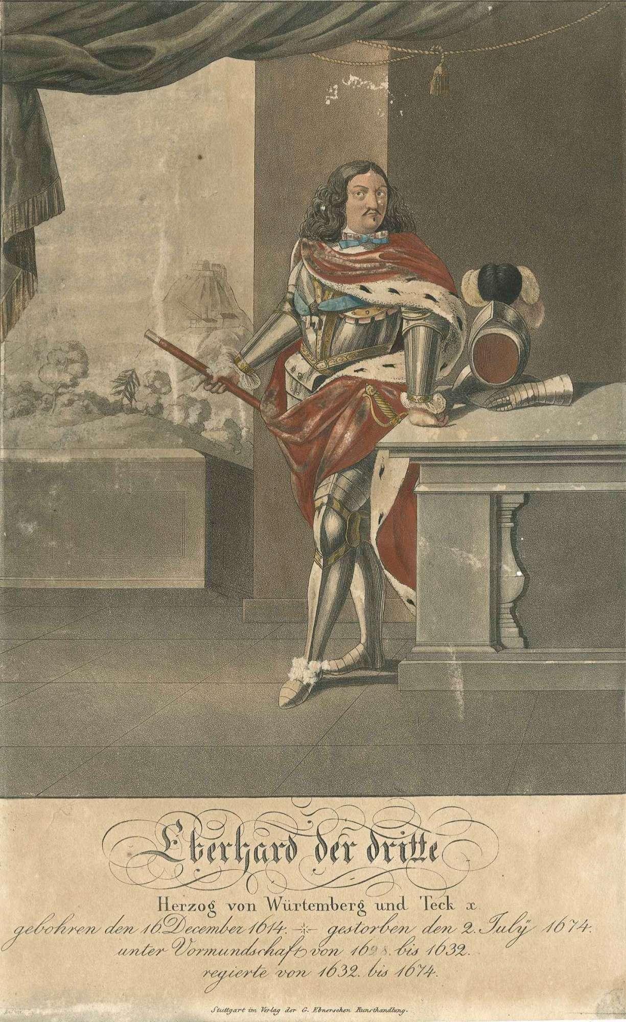 Herzog Eberhard III. von Württemberg, stehend in Rüstung und Purpurmantel in Halbprofil, Bild 1