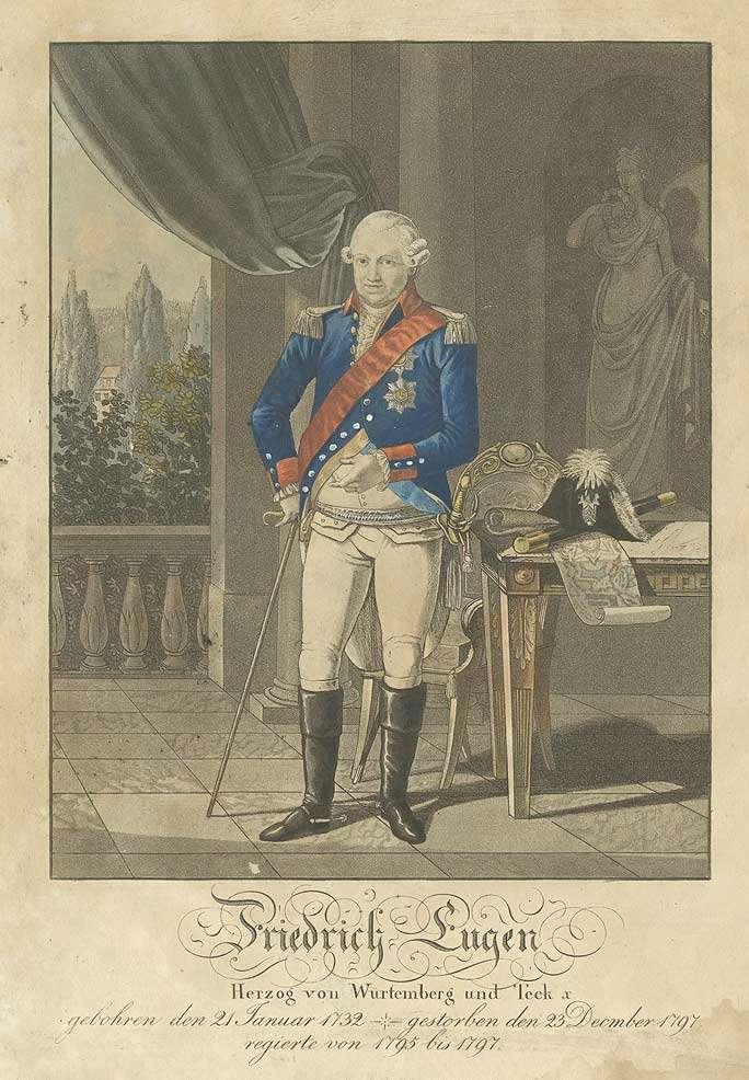 Herzog Friedrich Eugen von Württemberg, preussischer Generalfeldmarschall in Uniform, stehend in Halbprofil, Bild 1