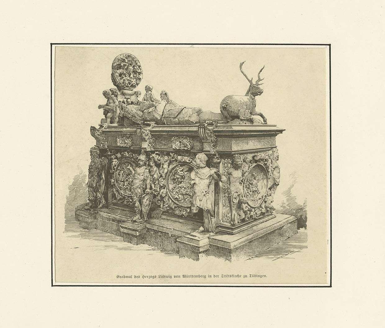 Reich verziertes Grabmal des Herzogs Ludwig von Württemberg in der Tübinger Stiftskirche, Bild 1