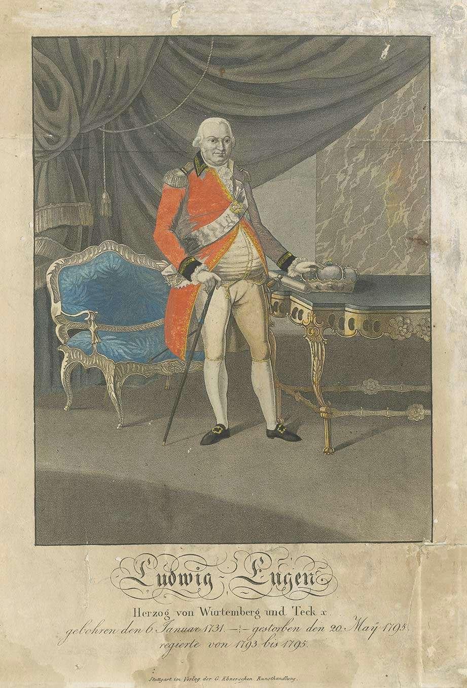 Ludwig Eugen, Herzog von Württemberg (1731-1796), stehend mit Stock und Krone in der Hand, in Halbprofil, Bild 1
