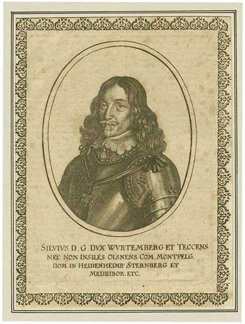 Herzog Silvius Nimrod von Württemberg in Rüstung, Brustbild in Halbprofil, Bild 1