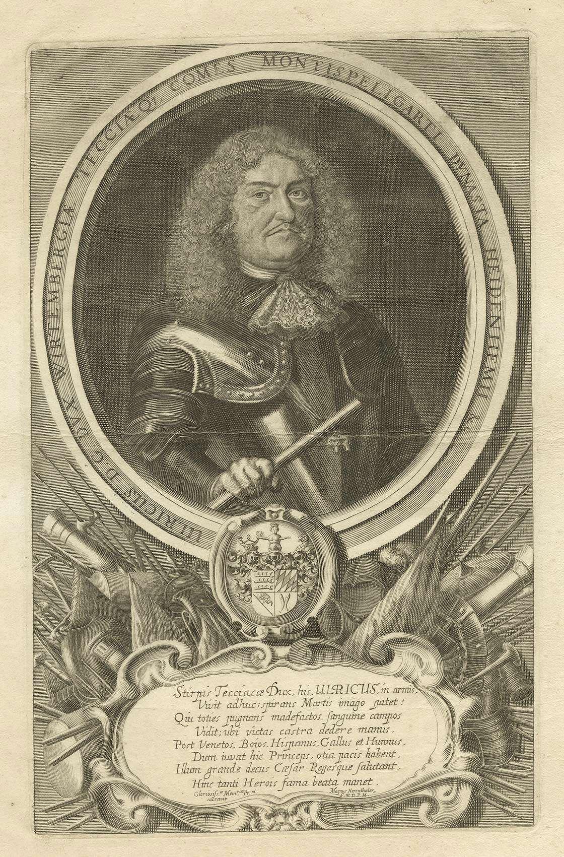 Herzog Ulrich von Württemberg in Rüstung mit Waffen, darunter Wappen mit lat. Inschrift, Brustbild in Halbprofil, Bild 1