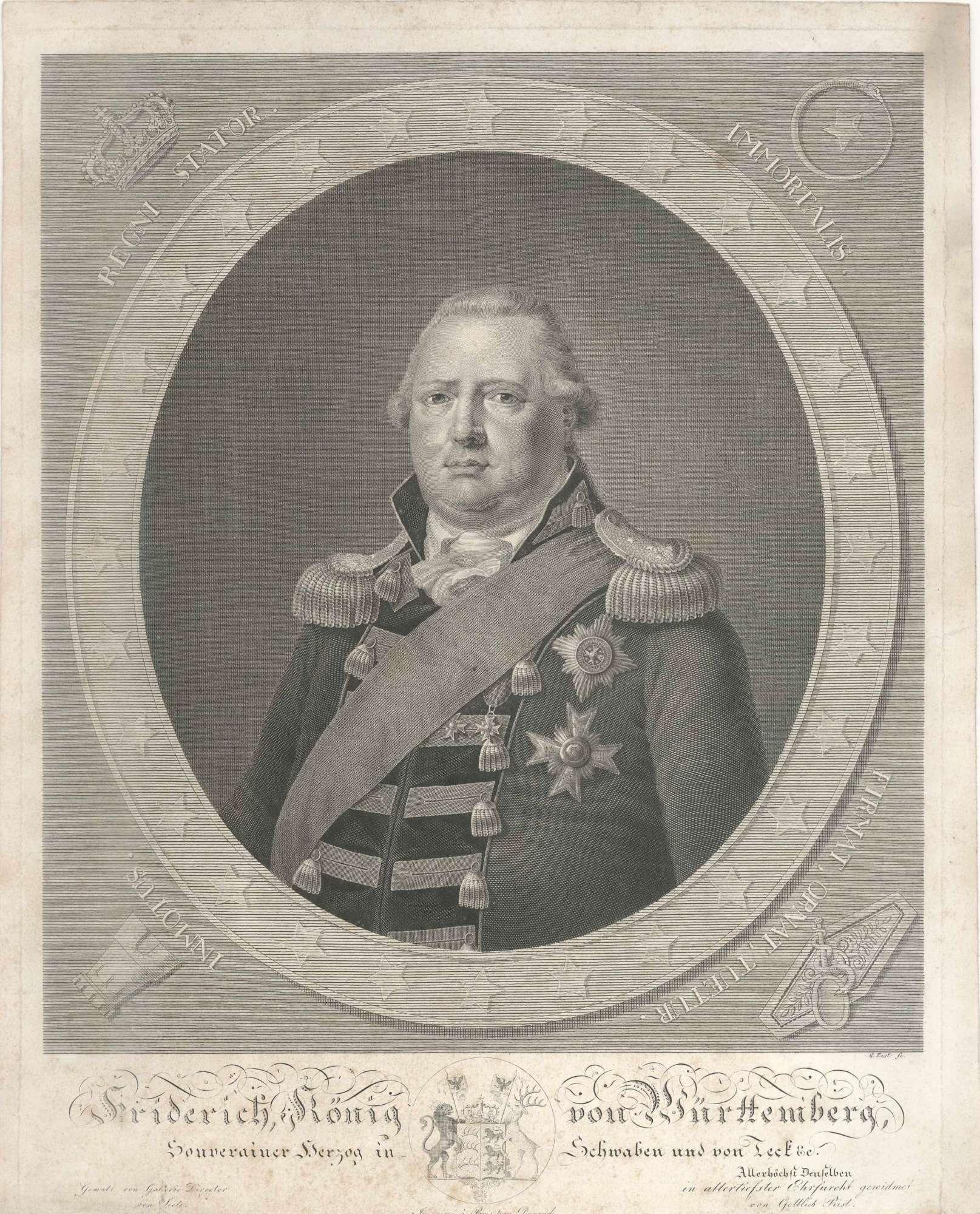 Friedrich I. König von Württemberg (1754 - 1816), in Uniform mit Orden und Schärpe, Brustbild in Halbprofil, Bild 1