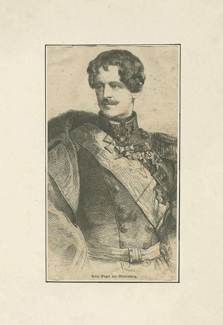 Prinz Eugen von Württemberg in Feldmarschalluniform mit Schärpe und Orden, Brustbild in Halbprofil, Bild 1
