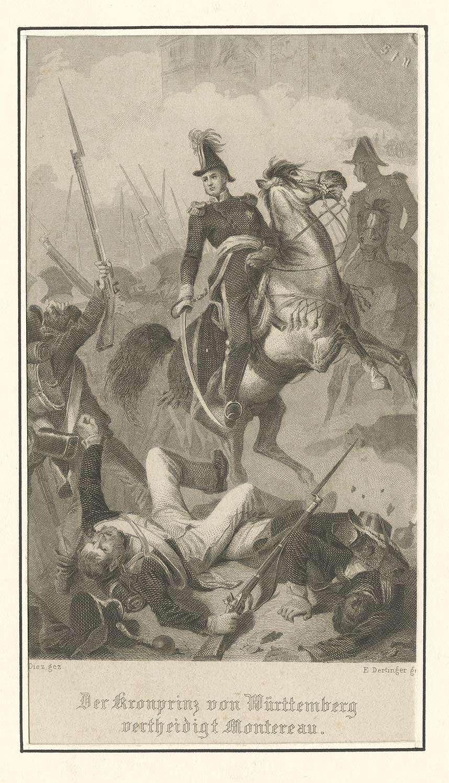 Wilhelm I., König von Württemberg (1781- 1864), als Kronprinz in Uniform, Mütze und Orden, zu Pferd mit gezogenem Säbel im Schlachtgetümmel der Verteidigung von Monereau, Bild 1