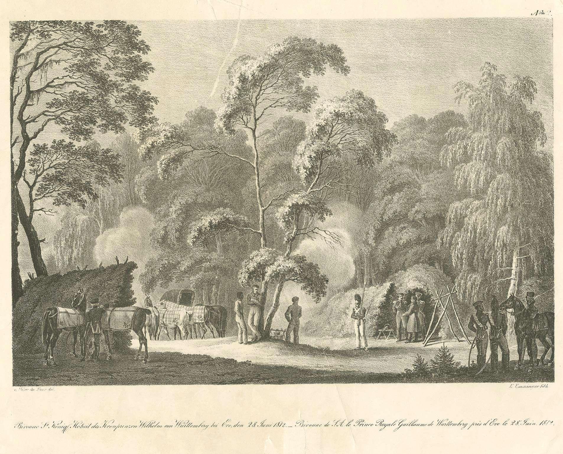 Wilhelm I., König von Württemberg (1781 - 1864), Biwak des Kronprinzen, mit Gefolge am 28.06.1812 in Waldlandschaft bei Eve, Bild 1