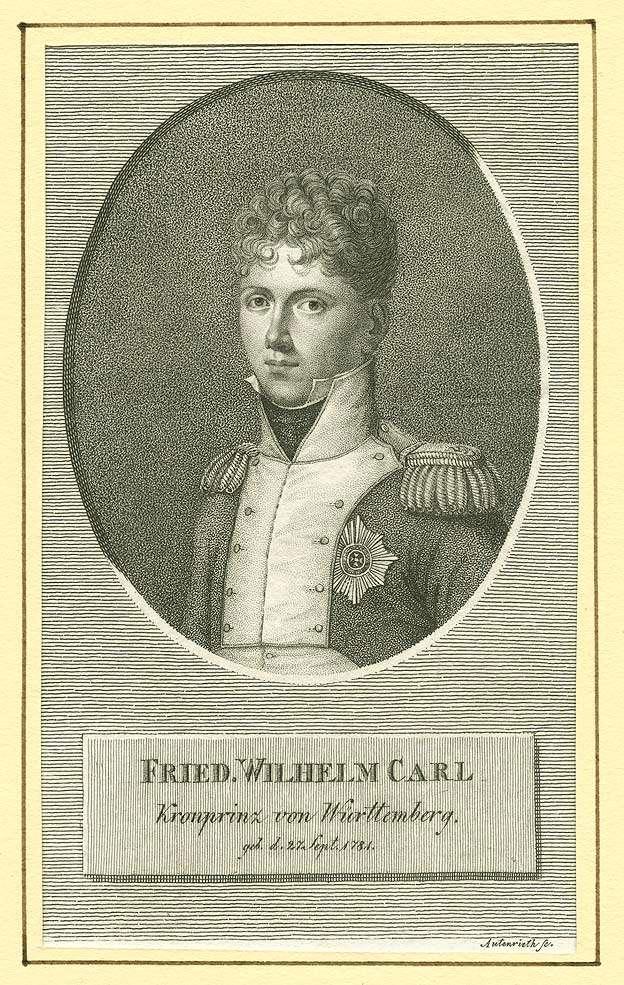 Wilhelm I., König von Württemberg (1781 - 1864), als Kronprinz in Uniform mit Mütze und Orden, zu Pferd mit gezogenem Säbel im Schlachtgetümmel von Montereau, Brustbild in Halbprofil, Bild 1