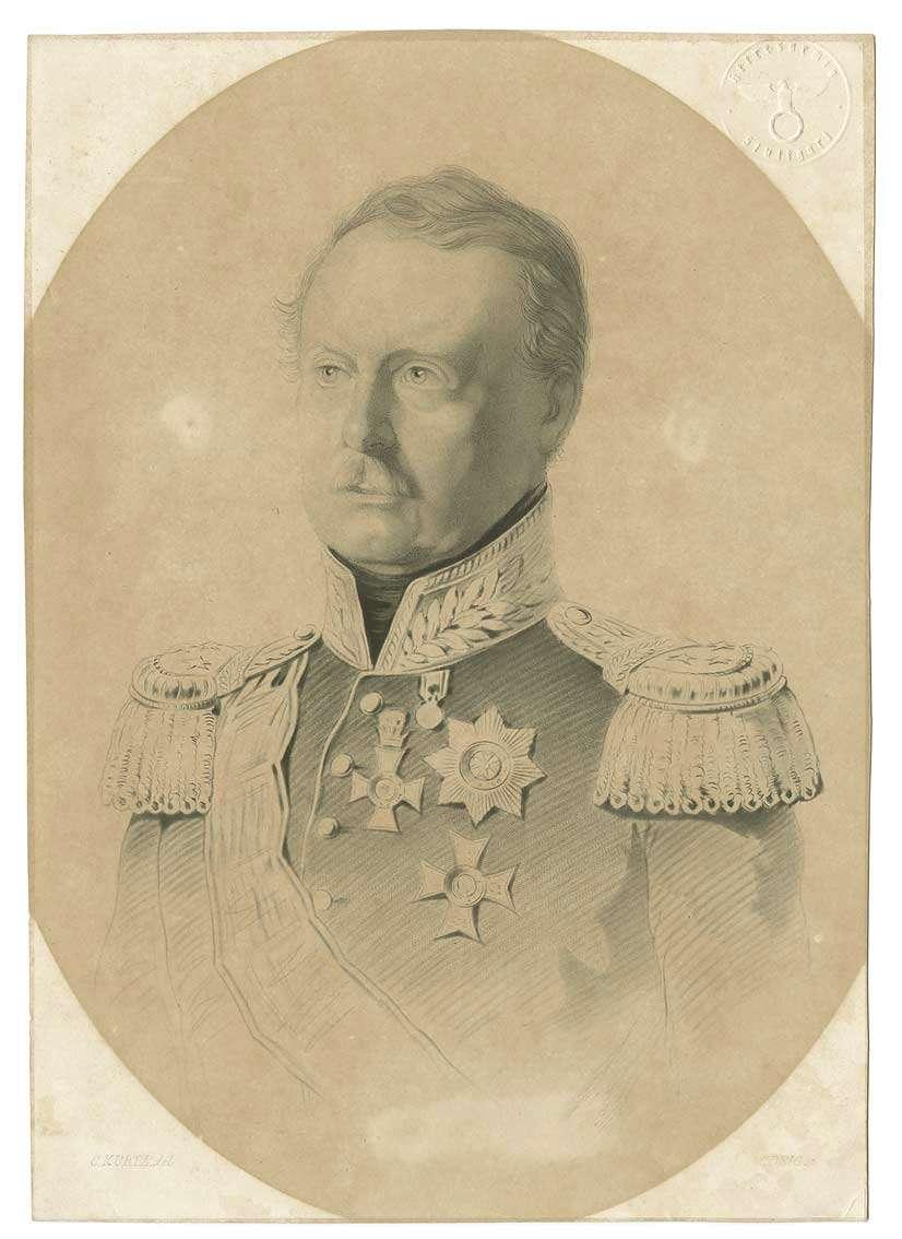 König Wilhelm I. von Württemberg in Uniform mit Orden und Schärpe, Brustbild in Halbprofil, Bild 1