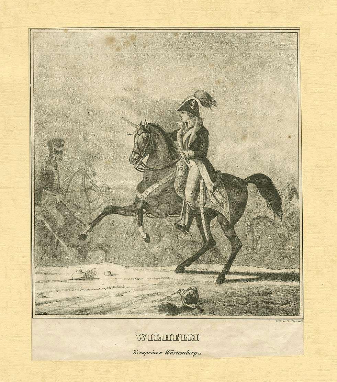 Wilhelm I., König von Württemberg, als Kronprinz, in Uniform mit Mütze und Orden, zu Pferd mit gezogenem Säbel im Schlachtgetümmel von Montereau, Brustbild in Halbprofil, Bild 1