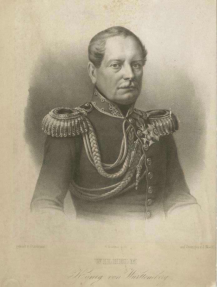König Wilhelm I. von Württemberg in Uniform mit Orden, Brustbild in Halbprofil, Bild 1