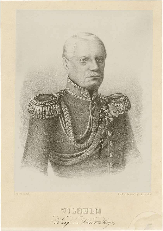 Wilhelm I., König von Württemberg (1781- 1864), in Uniform mit Orden, Brustbild in Halbprofil, Bild 1
