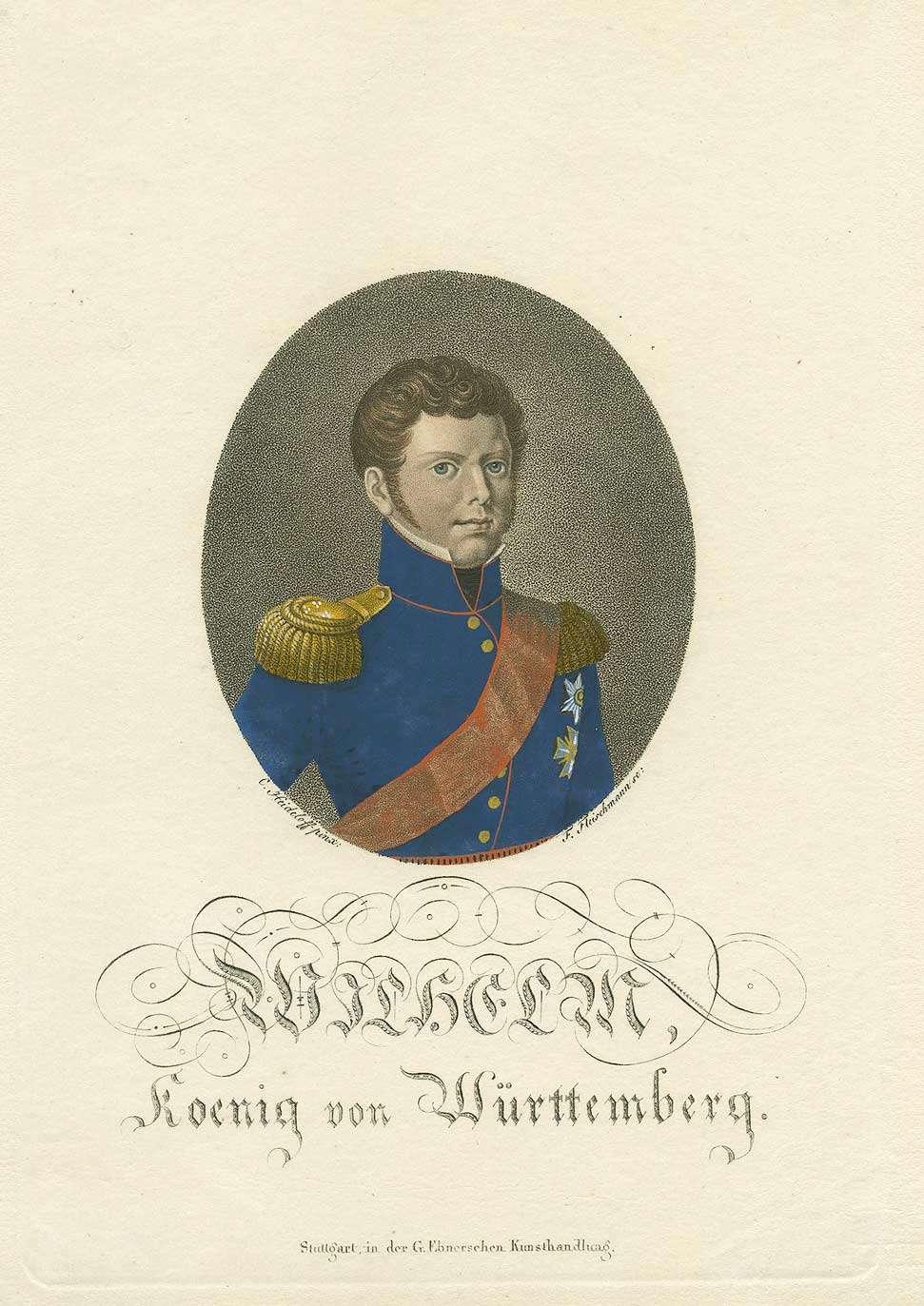 Wilhelm I., König von Württemberg (1781- 1864) in Uniform mit Orden und Schärpe, Brustbild in Halbprofil, Bild 1